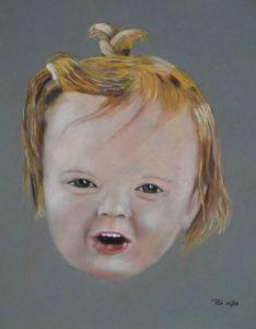 Petite fille jouant et riant: Pastel sur papier ( 40 x 30 cm)