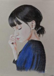 Rêveuse : Pastel sur papier ( 40 x 30 cm)