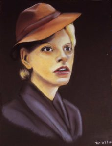 Dama w kapelusiku (Dame au chapeau): Pastel sur papier ( 40 x 30 cm)