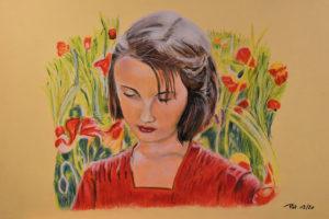 La jeune fille aux coquelicots Pastel sur papier 40 x 30 cm
